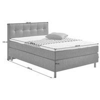 POSTEL BOXSPRING, 140 cm  x 200 cm, textilie, šedá, černá - šedá/černá, Design, kov/textilie (140/200cm) - Carryhome