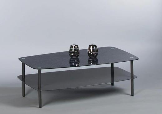COUCHTISCH Grau, Schwarz - Schwarz/Grau, KONVENTIONELL, Glas/Metall (100/60/35cm) - Carryhome