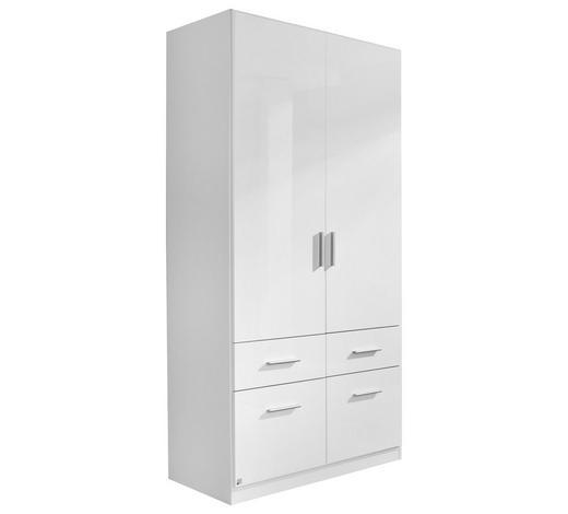 KLEIDERSCHRANK 2-türig Weiß - Alufarben/Weiß, KONVENTIONELL, Holzwerkstoff/Kunststoff (91/197/54cm) - Carryhome