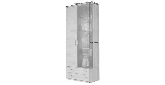 VITRINE Kernbuche massiv Buchefarben  - Buchefarben/Silberfarben, KONVENTIONELL, Glas/Holz (90/211,6/40,4cm) - Cantus