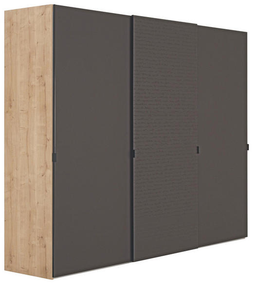SCHWEBETÜRENSCHRANK 3  -türig Braun, Eichefarben - Eichefarben/Schwarz, Design, Glas/Holzwerkstoff (280/222/68cm) - NOVEL