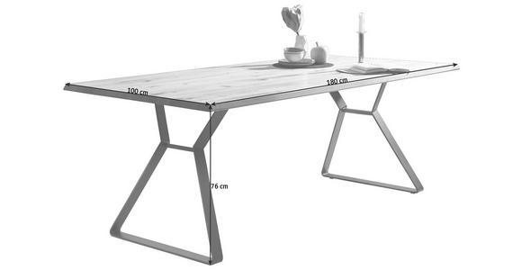 ESSTISCH in Holz, Metall 180/100/76 cm - Eichefarben/Schwarz, Natur, Holz/Metall (180/100/76cm) - Valnatura