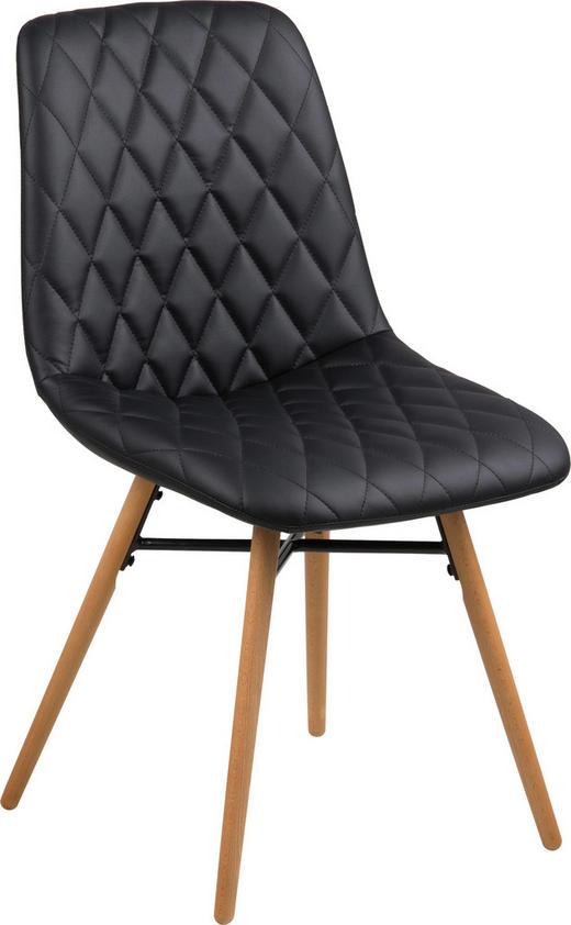 STUHL in Textil Schwarz - Buchefarben/Schwarz, Design, Holz/Textil (46/85/57cm) - Carryhome