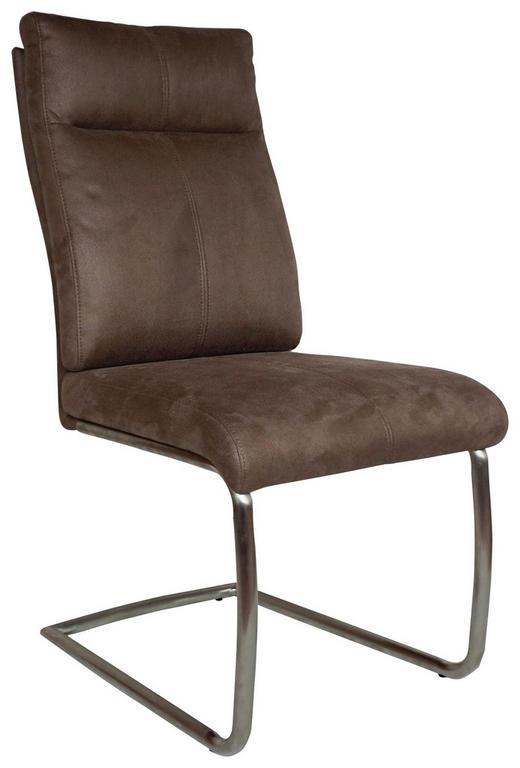HOUPACÍ ŽIDLE, kov, textil, barvy nerez oceli, hnědá, - hnědá/barvy nerez oceli, Design, kov/textil (47/104/64cm) - Carryhome