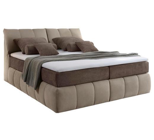 BOXSPRINGBETT 180/200 cm  in Braun, Beige - Beige/Braun, Design, Textil (180/200cm) - Carryhome