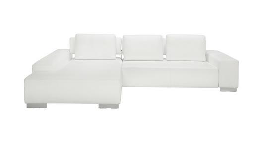 WOHNLANDSCHAFT Echtleder Rückenkissen - Chromfarben/Weiß, Design, Leder/Metall (304/204cm) - DIETER KNOLL