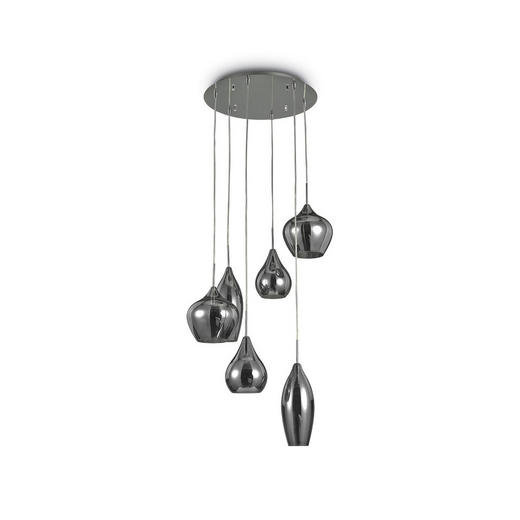 HÄNGELEUCHTE - Grau, Design, Glas/Metall (60/30-135cm)