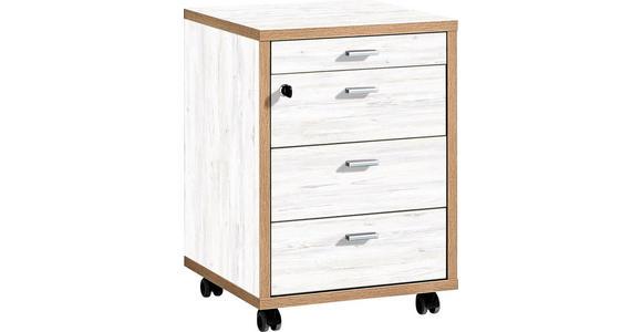 ROLLCONTAINER - Eichefarben/Alufarben, Design, Holzwerkstoff/Metall (43/59/44cm) - Xora