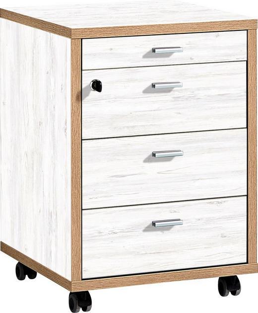 ROLLCONTAINER Eichefarben, Weiß - Eichefarben/Alufarben, Design, Metall (43/59/44cm) - Xora