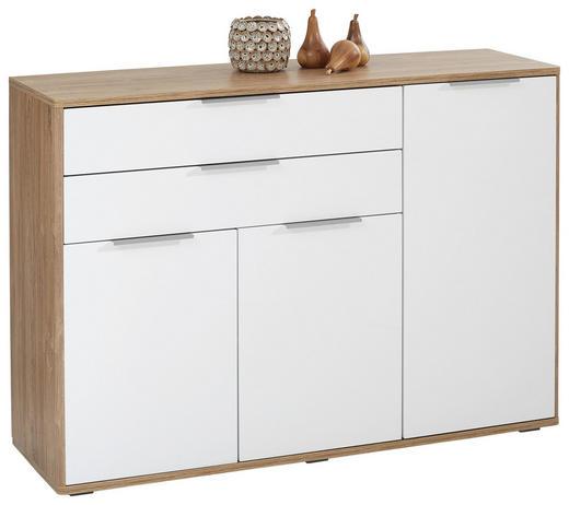 SIDEBOARD Hochglanz Eichefarben, Weiß - Edelstahlfarben/Eichefarben, Design, Holzwerkstoff/Metall (136/96/42cm) - Hom`in