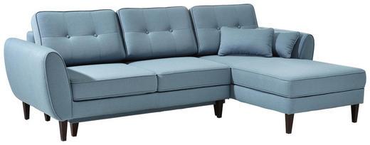 WOHNLANDSCHAFT Blau - Blau/Nussbaumfarben, Design, Textil (254/165cm) - Linea Natura