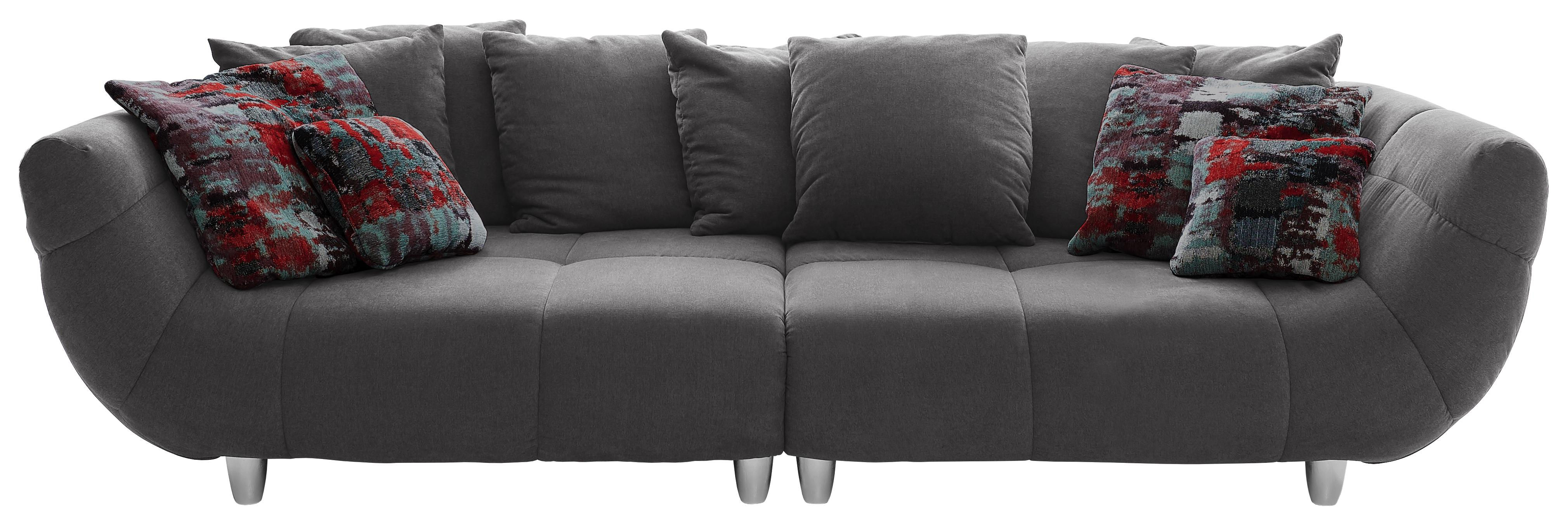 MEGA POHOVKA, šedá, textilie, - šedá/bílá, Design, textilie/umělá hmota (300/87/133cm) - Hom`in