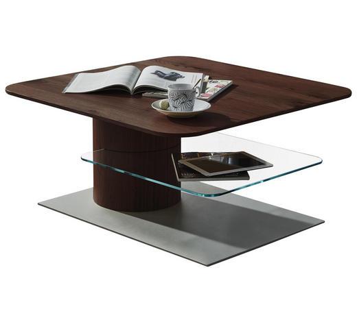 KONFERENČNÍ STOLEK, hnědá, bílá, barvy dubu, barvy hliníku - bílá/barvy dubu, Design, kompozitní dřevo/sklo (85/85/43cm) - Ambiente by Hülsta