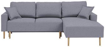WOHNLANDSCHAFT in Textil Grau, Hellblau - Buchefarben/Grau, Design, Holz/Textil (223/146cm) - Xora