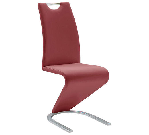 SCHWINGSTUHL in Metall, Textil Chromfarben, Bordeaux  - Chromfarben/Bordeaux, Design, Textil/Metall (45/102/62cm)