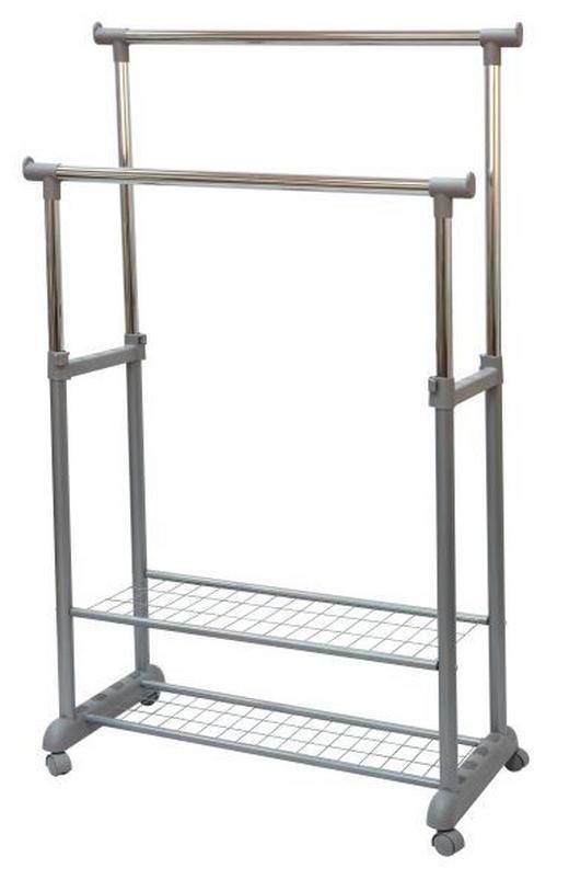KLEIDERWAGEN Chromfarben, Grau - Chromfarben/Grau, Design, Kunststoff/Metall (85/120-166,5/44cm) - Carryhome