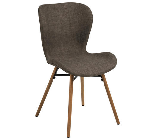 STUHL in Textil Braun, Grau, Eichefarben - Eichefarben/Braun, LIFESTYLE, Holz/Textil (47/82,5/56cm) - Carryhome