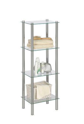 HYLLA - klar/kromfärg, Basics, metall/glas (38/104/28cm) - Xora