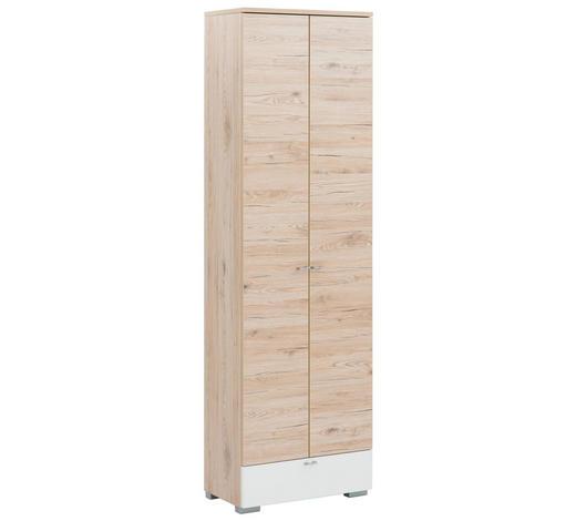 GARDEROBENSCHRANK Weiß, Eichefarben  - Eichefarben/Silberfarben, Design, Holzwerkstoff/Metall (60/200/34cm) - Cassando
