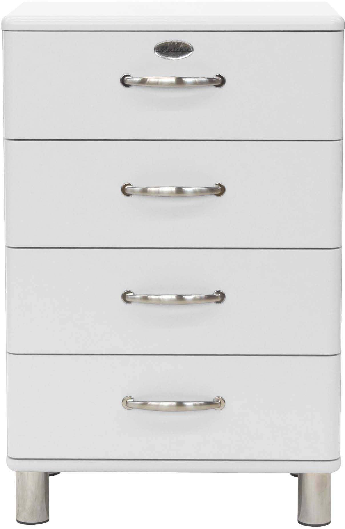 KOMMODE Weiß - Weiß/Nickelfarben, Design, Metall (60/92/41cm) - CARRYHOME