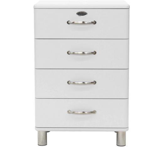 KOMMODE lackiert, Melamin Weiß - Weiß/Nickelfarben, Design, Metall (60/92/41cm) - Carryhome