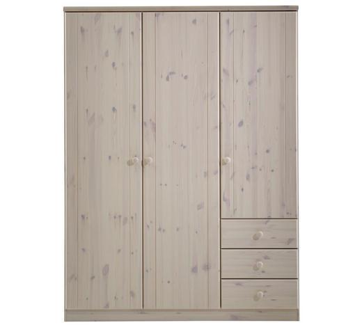 DREHTÜRENSCHRANK 3-türig Kiefer massiv Weiß  - Weiß, LIFESTYLE, Holz (150/202/60cm) - Carryhome