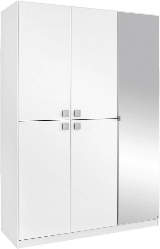 DREHTÜRENSCHRANK 5-türig Weiß - Alufarben/Weiß, Design, Glas/Holzwerkstoff (136/197/54cm) - Carryhome