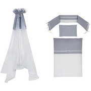 GITTERBETTSET 4-teilig KRISTALL - Weiß/Grau, Basics, Textil (100/135cm) - Patinio