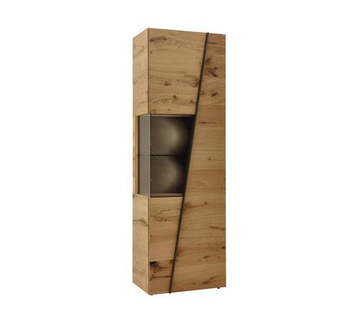 VITRÍNA, šedá, barvy dubu - šedá/barvy dubu, Natur, kov/dřevo (64/202/42,3cm) - Voglauer