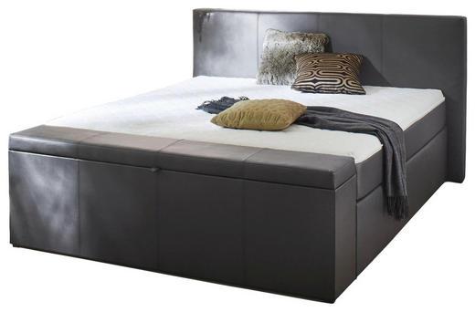 BOXSPRINGBETT Lederlook 180/200 cm  INKL. Bettkasten, Matratze, Topper - Anthrazit/Schwarz, Design, Kunststoff/Textil (180/200cm) - Carryhome