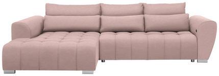 WOHNLANDSCHAFT in Textil Rosa  - Silberfarben/Rosa, MODERN, Kunststoff/Textil (218/304cm) - Carryhome