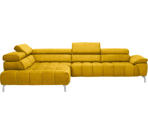 WOHNLANDSCHAFT in Textil Gelb, Currygelb - Chromfarben/Currygelb, Design, Textil/Metall (222/323cm) - Beldomo Style