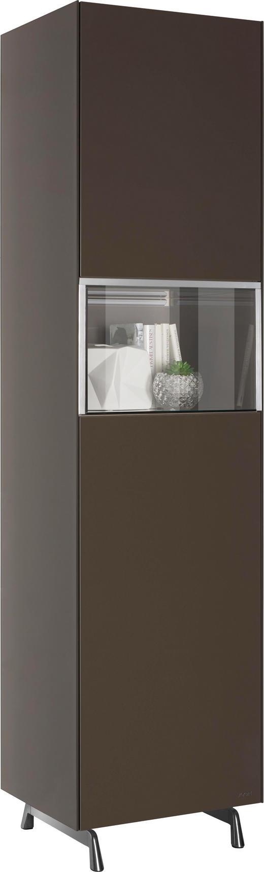 VITRINE in Braun - Alufarben/Braun, Design, Glas/Holzwerkstoff (52/209/46cm) - Joop!