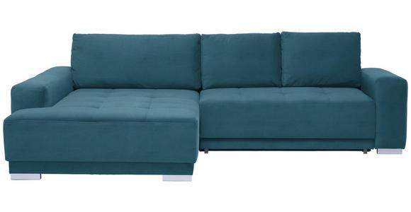 WOHNLANDSCHAFT in Textil Blau  - Blau/Silberfarben, Design, Holz/Textil (195/293cm) - Cantus