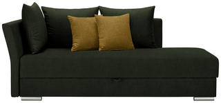 LIEGE in Textil Dunkelgrün, Gelb - Chromfarben/Dunkelgrün, Design, Kunststoff/Textil (220/93/100cm) - Xora