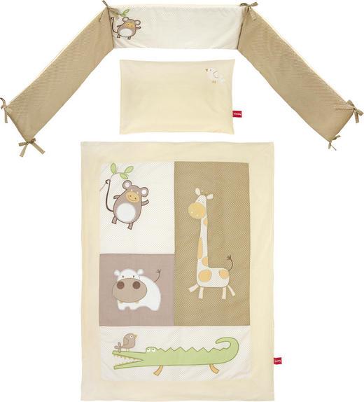 GITTERBETTSET 4-teilig Funny Animals - Creme/Braun, Basics, Textil - My Baby Lou