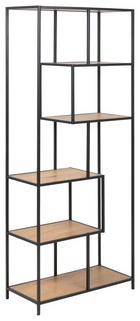 REGAL - boje hrasta/crna, Design, drvni materijal/metal (77/185/35cm)