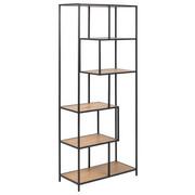 REGAL 77/185/35 cm črna, hrast - črna/hrast, Design, kovina/leseni material (77/185/35cm) - Carryhome