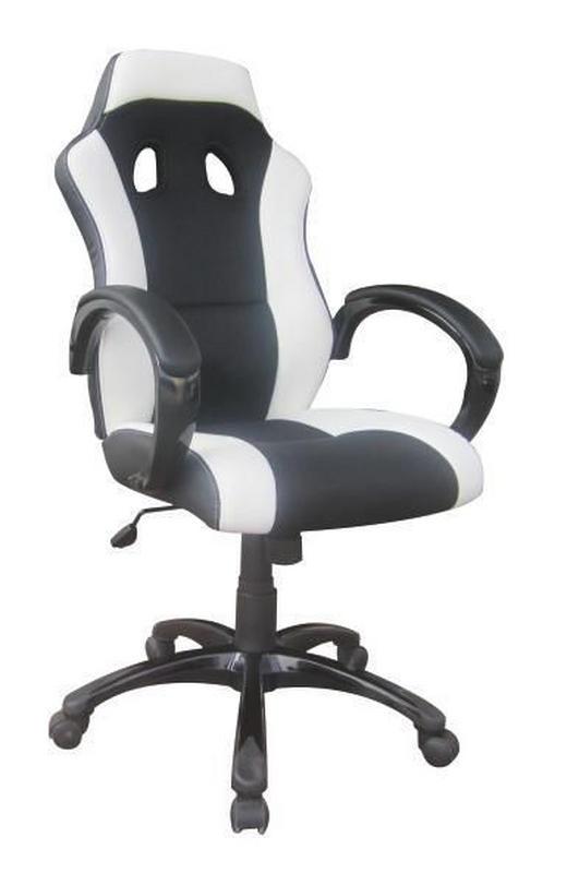 GAMINGSTUHL - Schwarz/Weiß, Design, Kunststoff/Textil (61/110-120/66cm) - Carryhome
