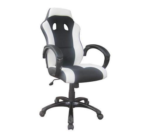 ŽIDLE GAMING, černá, bílá, vzhled kůže - bílá/černá, Design, kov/textil (61/110-120/66cm) - Carryhome