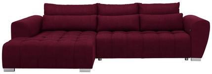 WOHNLANDSCHAFT in Textil Rot  - Silberfarben/Rot, MODERN, Kunststoff/Textil (218/304cm) - Carryhome