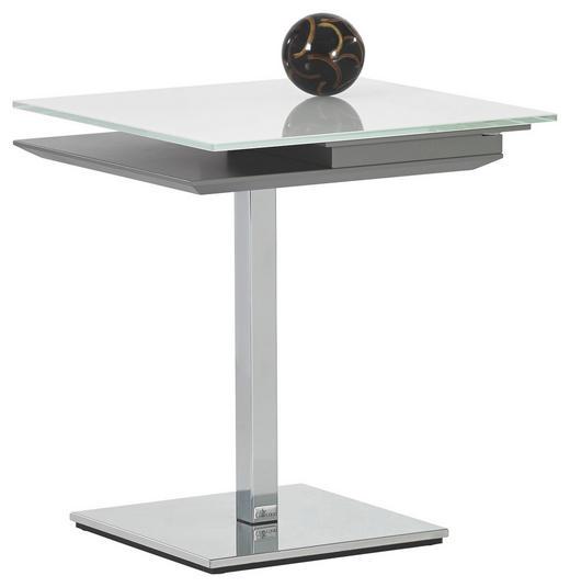 BEISTELLTISCH in Chromfarben, Taupe, Weiß - Taupe/Chromfarben, Design, Glas/Holzwerkstoff (50/55/50cm)