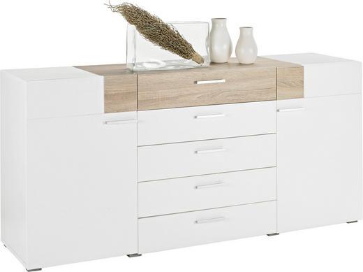 KOMMODE Sonoma Eiche, Weiß - Alufarben/Weiß, Design, Holz/Holzwerkstoff (180/82/47cm)