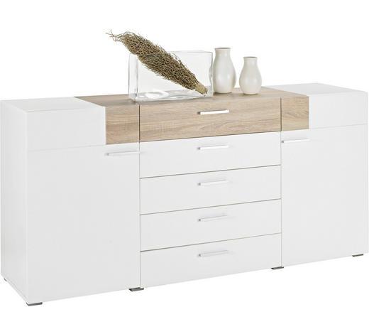 KOMMODE matt Weiß, Sonoma Eiche  - Alufarben/Weiß, Design, Holz/Holzwerkstoff (180/82/47cm)