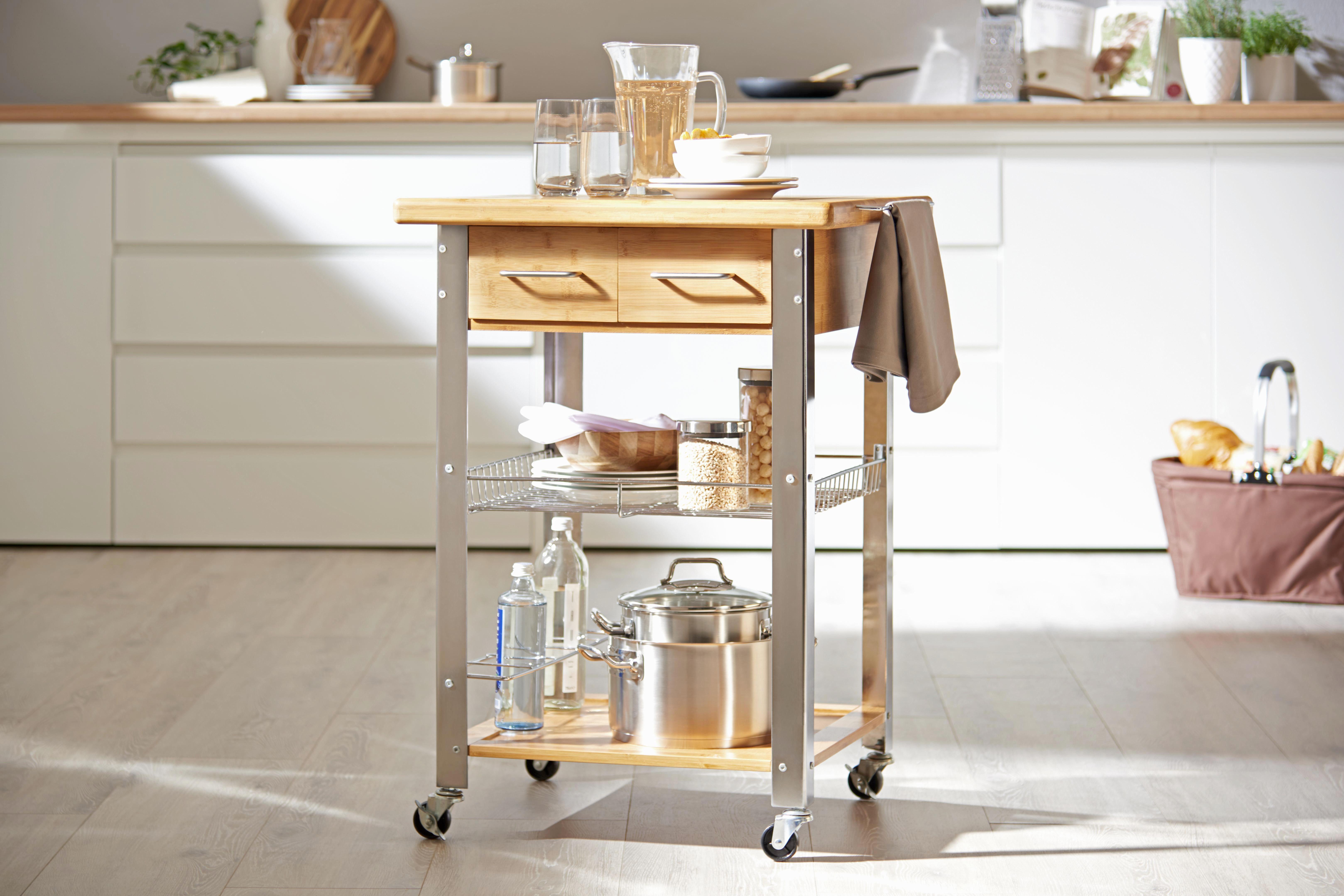 SERVERINGSVAGN - kromfärg/naturfärgad, Design, metall/trä (66/85/60cm) - Xora