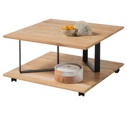 COUCHTISCH in Holz, Metall 80/80/43 cm - Eichefarben/Schwarz, Design, Holz/Metall (80/80/43cm) - Hom`in