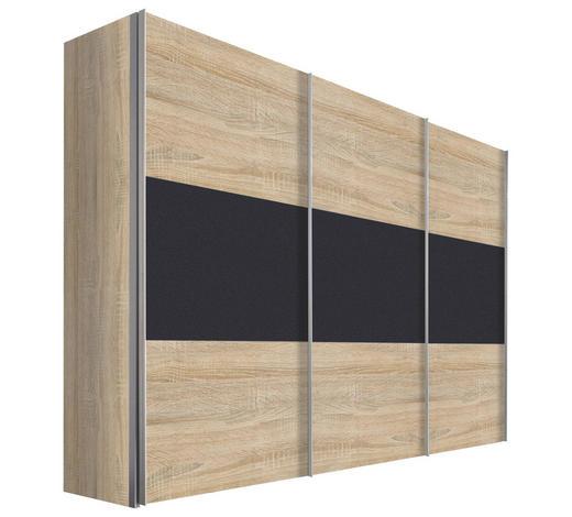 SCHWEBETÜRENSCHRANK in Graphitfarben, Eichefarben - Eichefarben/Alufarben, Design, Holzwerkstoff/Metall (300/216/68cm) - Hom`in