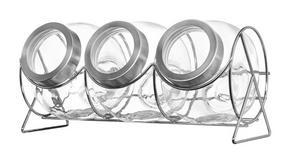 FÖRVARINGSBURKAR SET - transparent/rostfritt stål-färgad, Design, metall/glas (37/17/18,5cm) - Leonardo