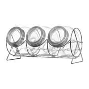 Vorratsdosenset - Edelstahlfarben/Transparent, Design, Glas/Kunststoff (37/17/18,5cm) - Leonardo
