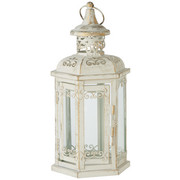 LATERNE - Creme/Naturfarben, Trend, Glas/Metall (12/25/11cm) - Ambia Home